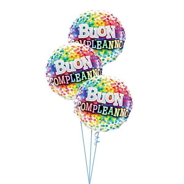 Buon Compleanno Rainbow Confetti Triple