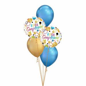Buon Compleanno Glitter Dots Blue Classic